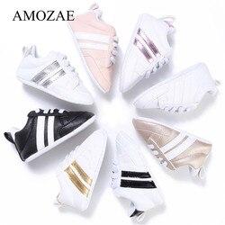 2019 детская обувь для новорожденных мальчиков и девочек с двумя полосками, для малышей, на шнуровке, из искусственной кожи, на мягкой подошве,...