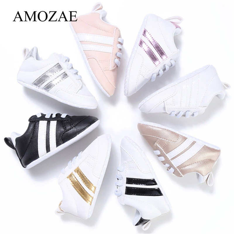 2019 Baby Shoes Newborn Boys Girls Two Striped First Walkers Kids Toddlers Lace Up PU Leather Soft Soles Sneakers 0-18 Months