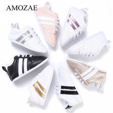 2019 Baby Shoes Newborn Boys Girls Two Striped First Walkers