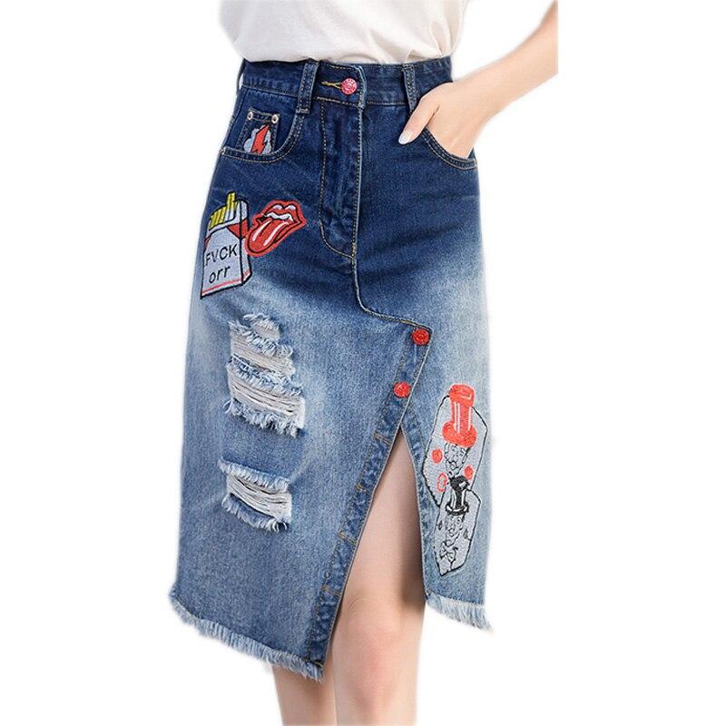 High Quality Knee Length Denim Skirts for Women-Buy Cheap Knee ...