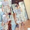 Летом 2015 года новой женской одежды хан издание моды falbala росы плеча одежды + высокая талия бюст юбки костюмы