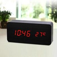 Светодиодный Деревянный Будильник цифровой температуры электронный контроль звуков для настольного стола дома E2S