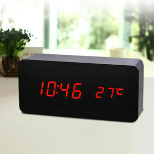 LED Alarm Clock Wooden Digital