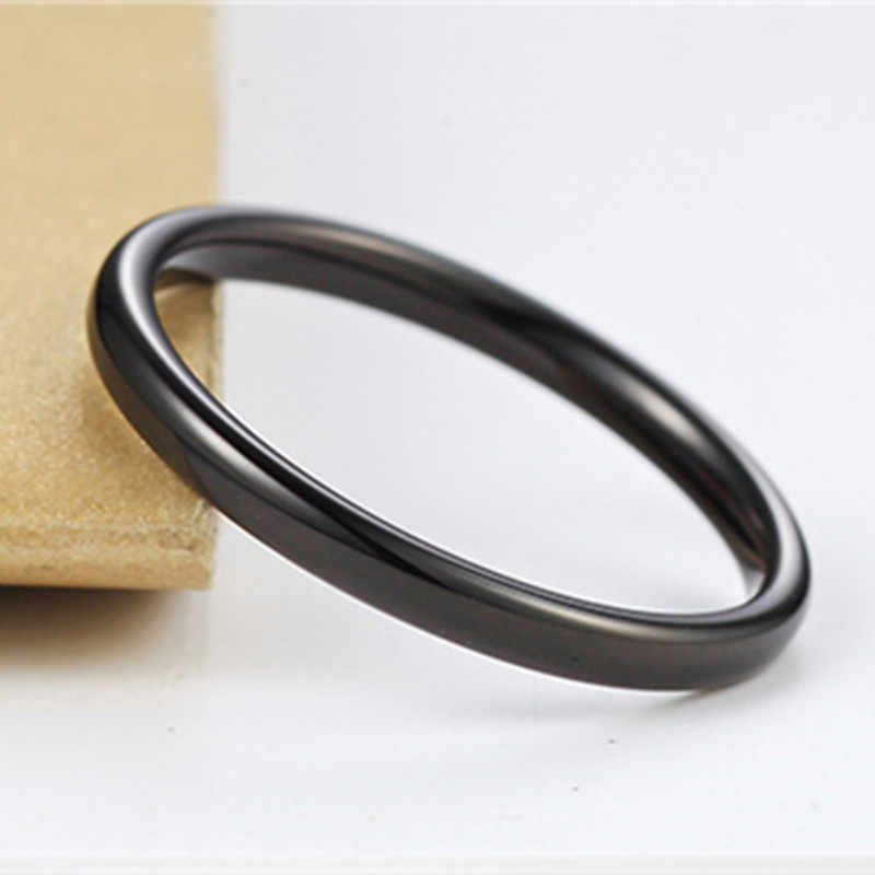 2mm Black Titanium rings for men women finger wholesale drop ship