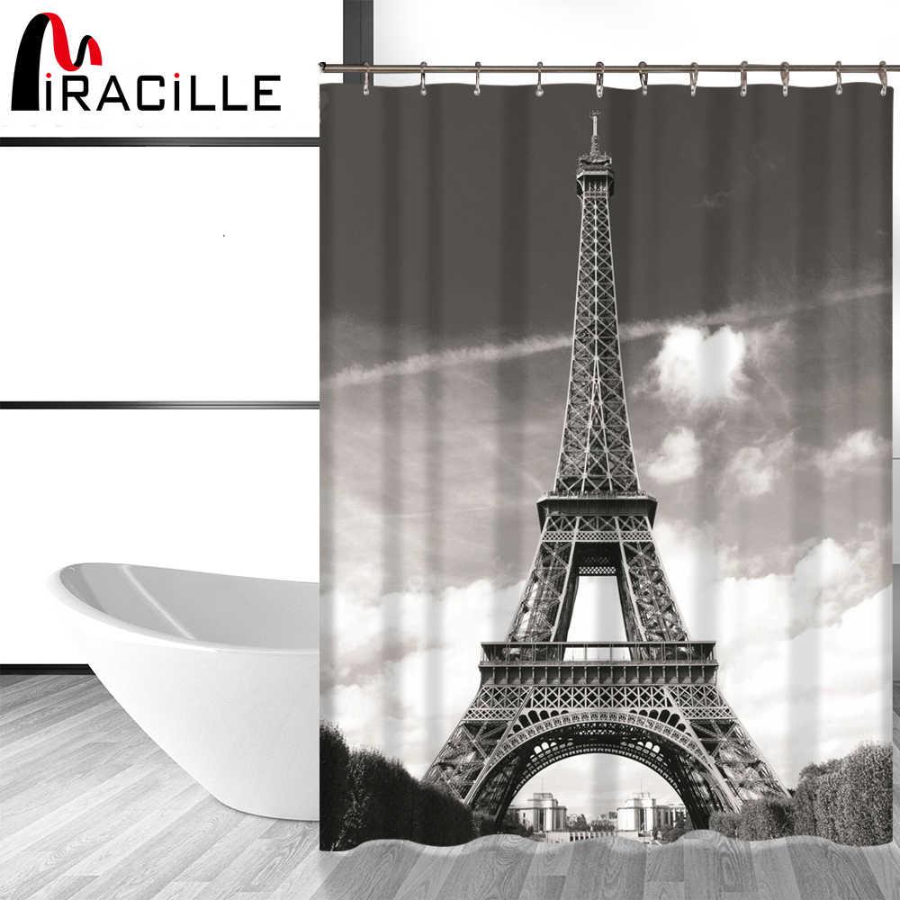 Miracille الحديثة الفرنسية برج ايفل دش الستار مقاوم للماء البوليستر النسيج ستائر الحمام اكسسوارات المنزل