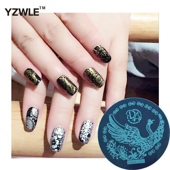 YZWLE 1 Pcs Stamping Nail Art Image Plate 5.6cm Stainless Steel Nail Stamping Plates Template For Nails Stencil Tools (hehe-034)
