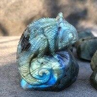 1pc Natural labradorite crystal skull handcarved chameleo reiki healing gemstone