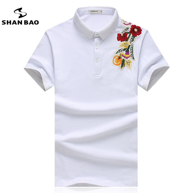 SHANBAO Men's Cotton POLO Shirt Floral Embroidery Solid Color Slim Casual POLO Shirt High Quality Large Size Shirt Summer 17047