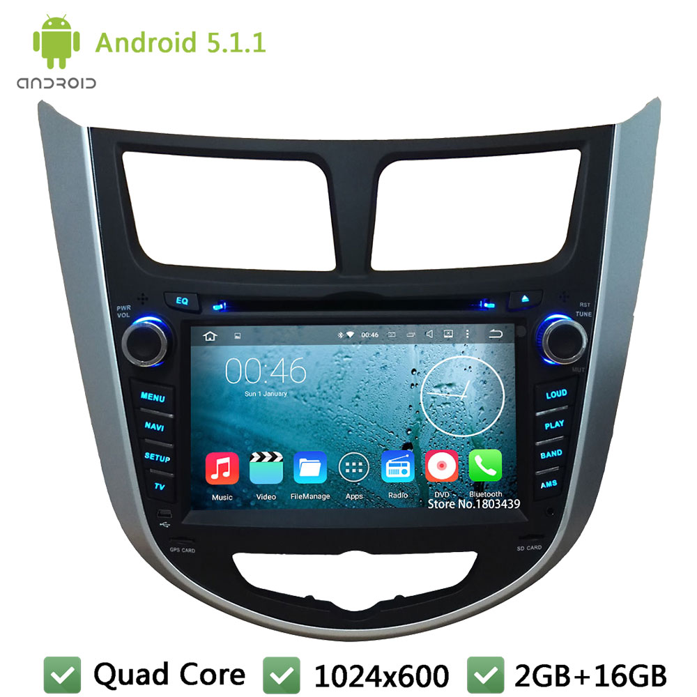 Quad Core Android 5.1.1 2Din 7″ 1024*600 3G FM BT Car DVD Player Screen Radio Stereo For HYUNDAI Verna Accent Solaris 2011-2014