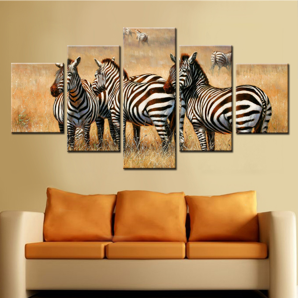 2017 New 5 Piece Canvas Art Zebra Modular Paintings on The Walls ...