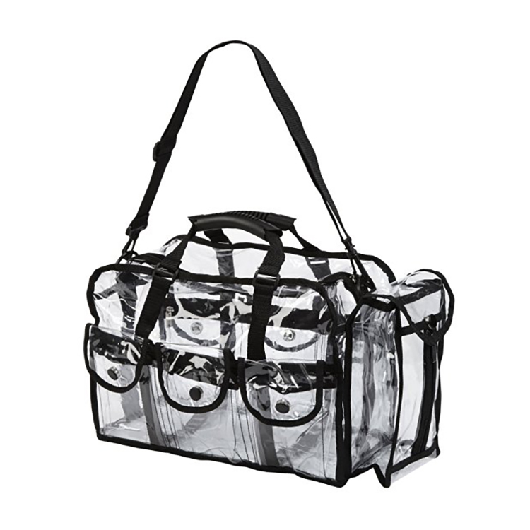 Professional Clear PVC cosmetic make up carry bag with 6 external pockets and detachable shoulder strap