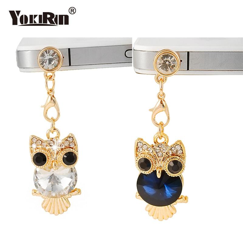 Cute Big Eyes Crystal Owl Telephone Mobile Phone Dust Plug Earphone Jack Plugs Suitable For All 3.5mm Headphone Plug Studs Phone Mobile Phone Accessories