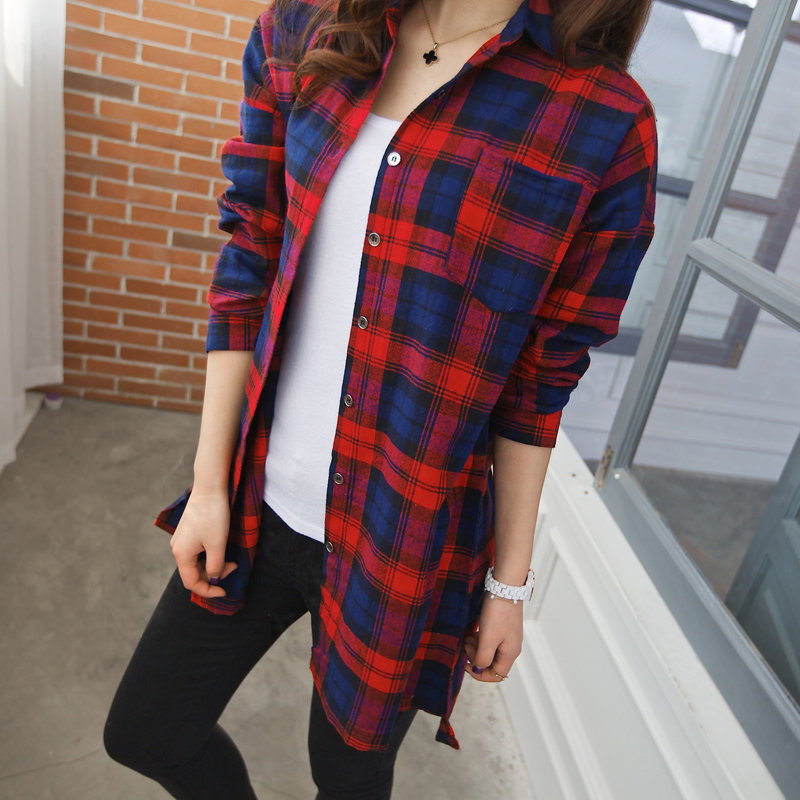 Plus size blue red plaid shirt women ladies shirt in cell Womens red tartan plaid shirt