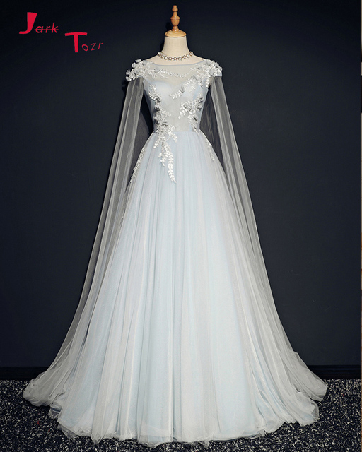 Jark Tozr Custom Made Tulle Shawl Appliques Flowers A Line Bride Wedding Dresses China Online