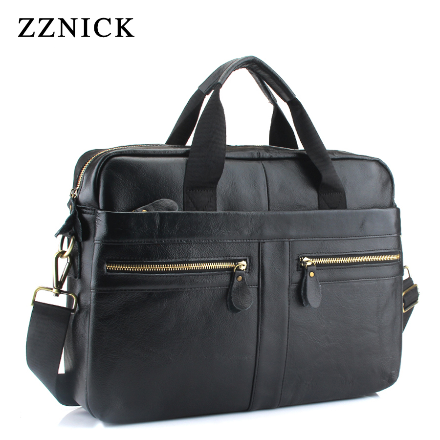 ZZNICK New men's 100%Genuine leather large-capacity briefcase men's fashion shoulder bag business computer bag travel bag(China)