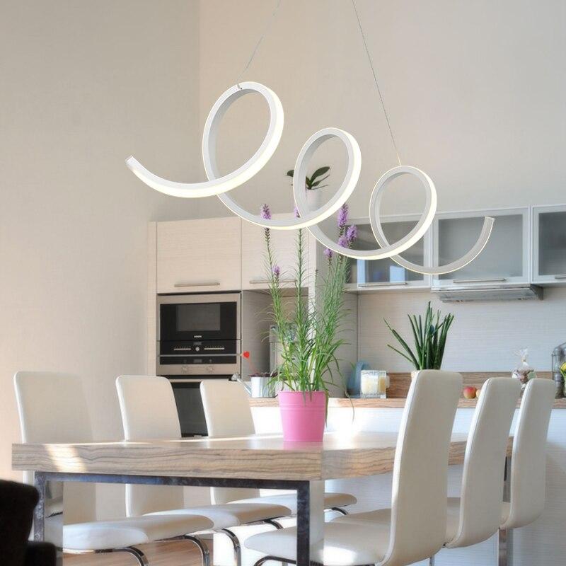 Qiseyuncai moderno aluminio + acrílico espiral Lámparas colgantes ...