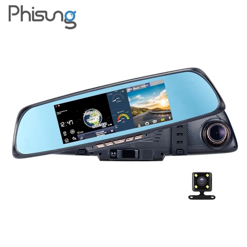 Phisung K05 Android ADAS Navigation mirror WIFI dash cam  FHD 1080P Car recorder 6.86inch Autoregistrators DVR with two cameras jansite newest 5 0 inch car camera with adas review mirror camera car dvr detector video recorder dual lens fhd 1080p dash cam