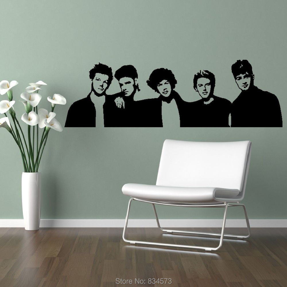 One Direction Bedroom Decor Aliexpresscom Buy One Direction Boyband 1d Silhouette Wall Art