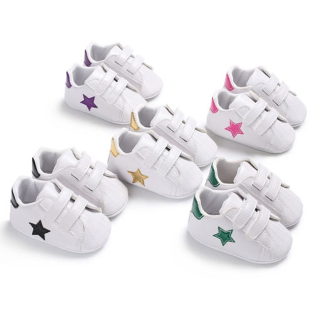 Newborn Infant Toddler Baby Boys and Girls Soft Sole Crib Shoes Sneaker Casual Shoes 0-18M Stars