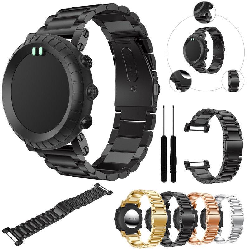 Replacemet Clássico de Aço Inoxidável Pulseira de Relógio Banda Straps & Ferramentas para Suunto Core Tudo Relógio Preto Do Esporte