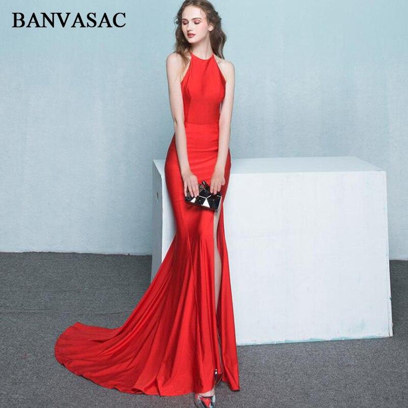 6a1e2afc9 Detalle Comentarios Preguntas sobre BANVASAC 2018 Halter elegante Split  sirena vestidos de noche largos partido recortado barrido tren Backless  vestidos de ...