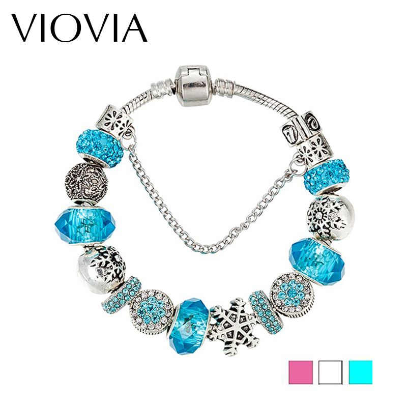 Snowflake Charm Bracelet: VIOVIA 2017 Fashion Snowflake Charm Bracelet & Bangle