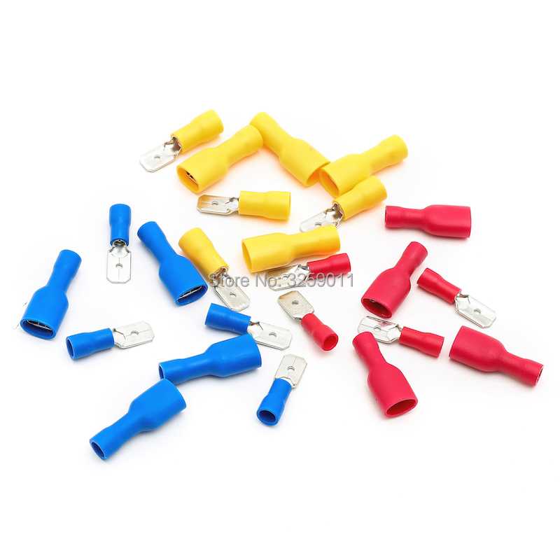 600PRS Butt Connector Crimp Terminal Male Female Full-Insulating Joint Assortment Kit Fitted 22-16/16-14/12-10 A.W.G