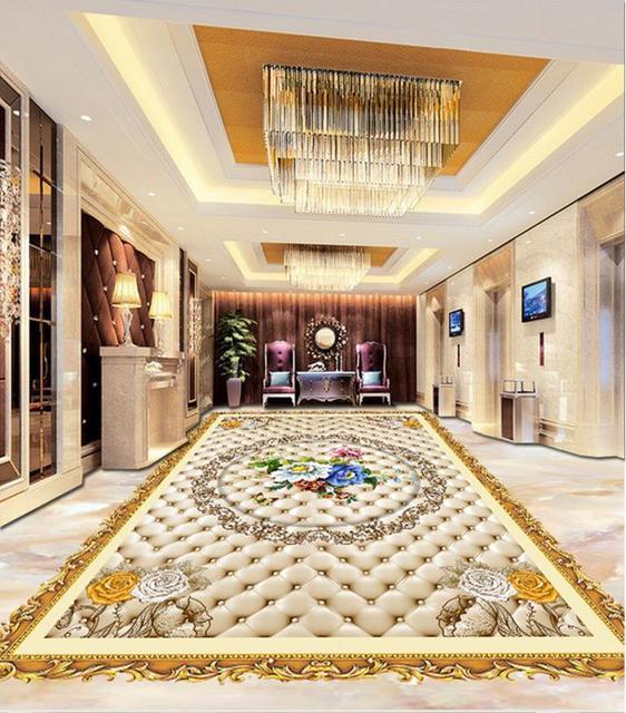 High end 3d floor flowers pattern wallpaper 3d floor tiles ...
