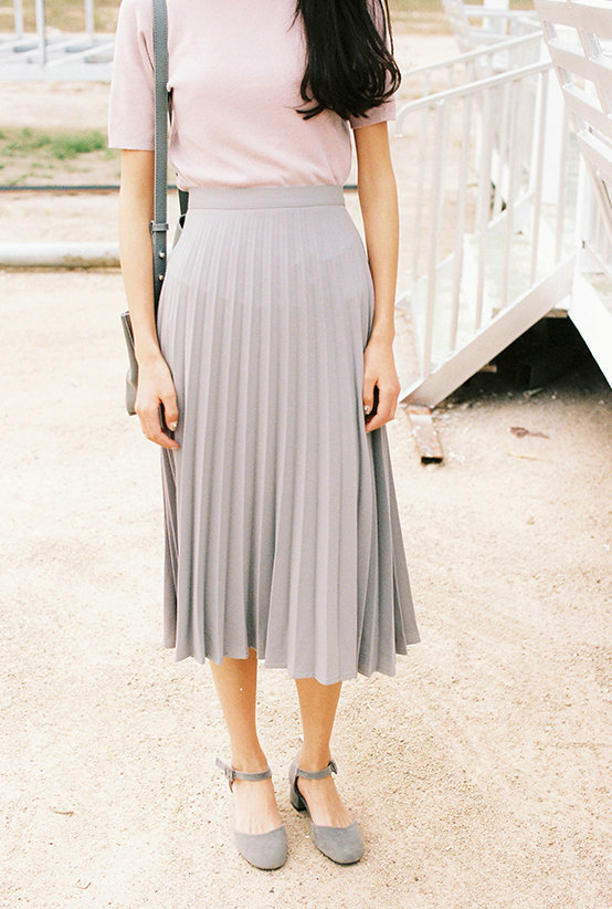 A-Line Pink Gray Black Pleated Skirt 8
