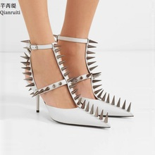 Qianruiti Red Patent Leather T-Strap Women Sandals Studded Rivets Buckle Strap High Heels Shoes Sexy Pointed Toe Women Pumps