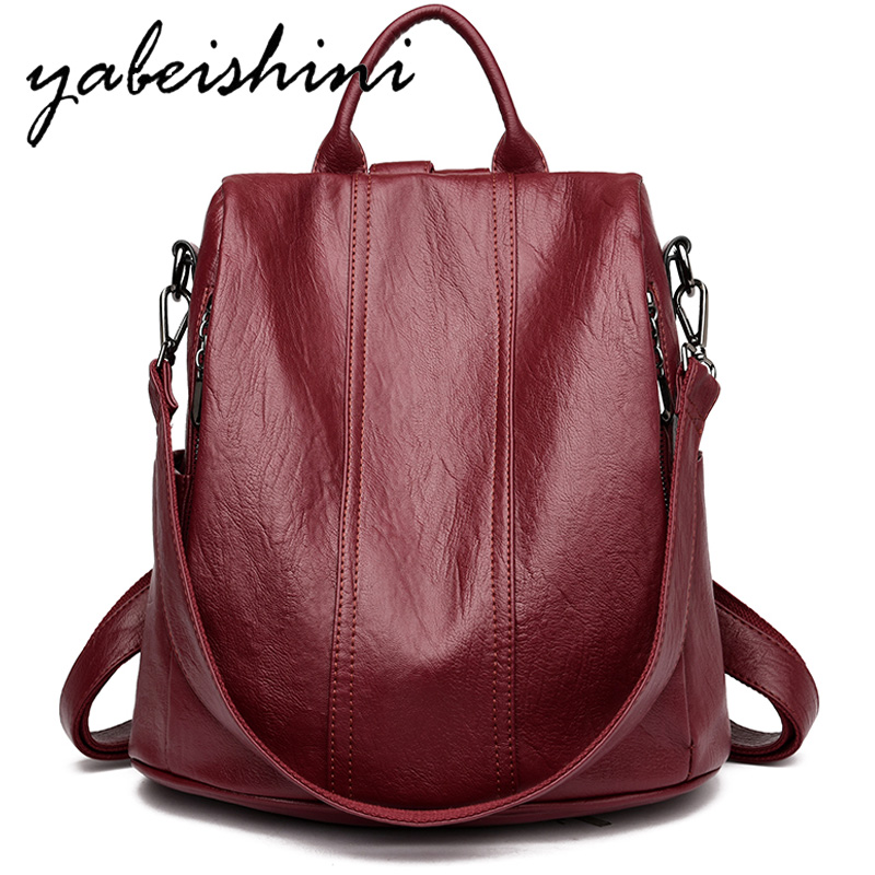 Women Waterproof Anti-theft Leather Backpacks Bags For Girls Female Shoulder Bag Multifunction Traveling Backpack Mochilas