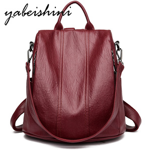 Women Waterproof anti-theft Leather Backpacks Bags For Girls Female Shoulder Bag Multifunction Traveling Backpack Mochilas(China)