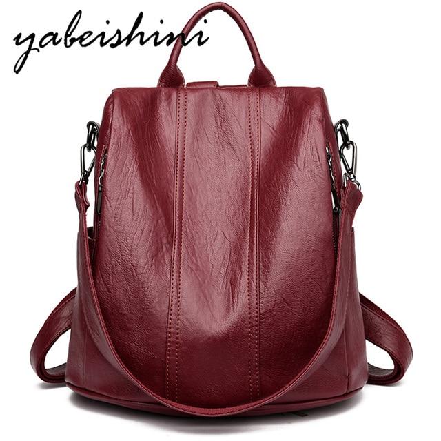 Women Waterproof anti theft Leather Backpacks Bags For Girls Female Shoulder Bag Multifunction Traveling Backpack Mochilas