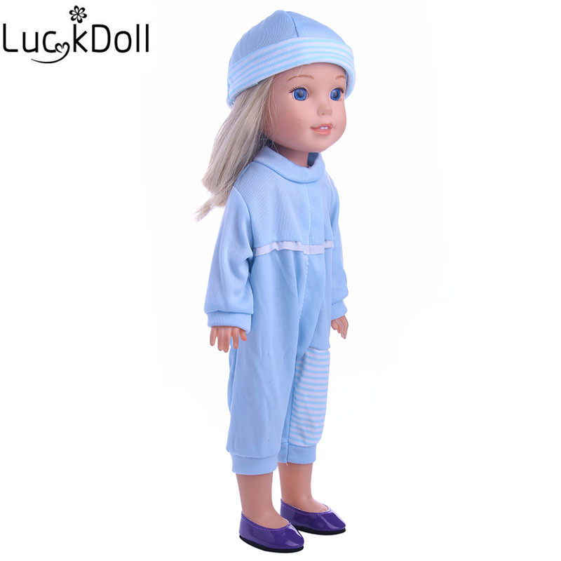 Luckdoll Blue Hooded Doll Pajamas for 14.5-In American Girl Dolls WellieWherhers, Childrens Best Holiday Gifts