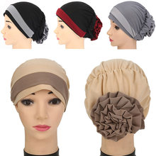 Elastic Big Flower Chiffon Hijab Bandana Women Cap African Turban Boho Head Wrap Hippie Summer Head Scarf Muslim Foulard Femme(China)