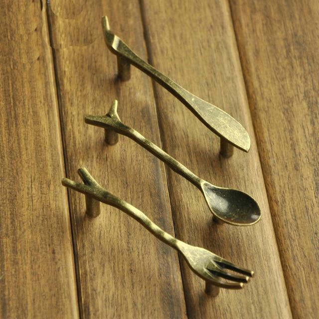 6PCS/Lot Vintage Bronze Knife/Spoon/Fork Kitchen Cupboard Cabinet Wardrobe  Door Drawer