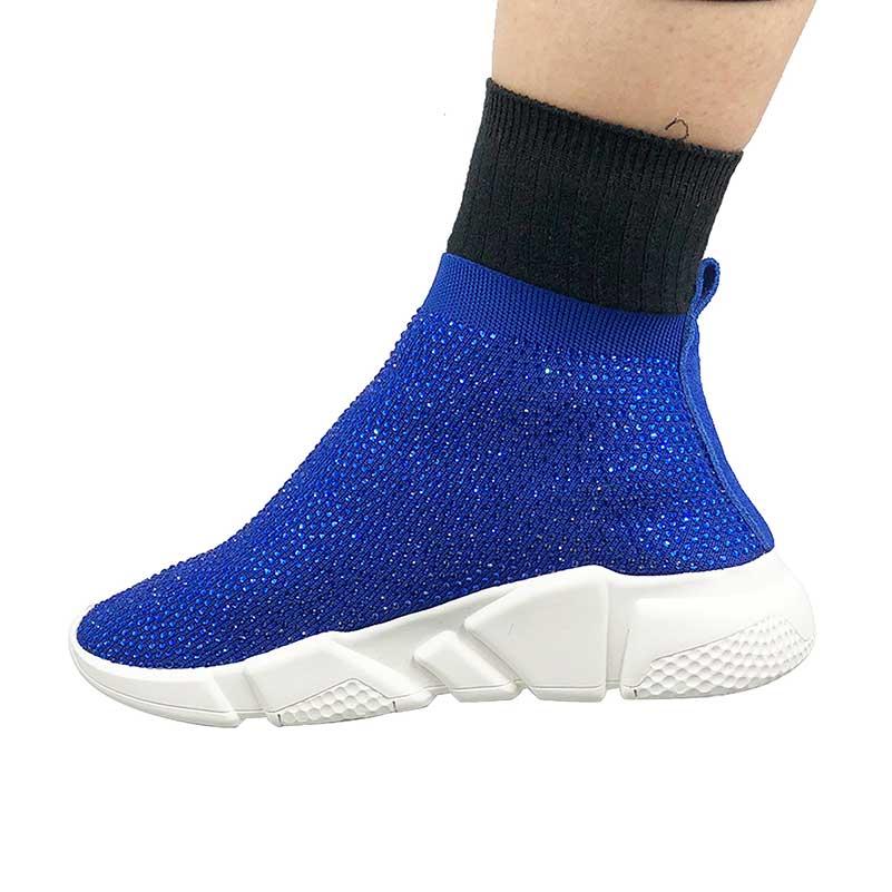 Elehot Blue Rhinestone Sock Sneakers (4)