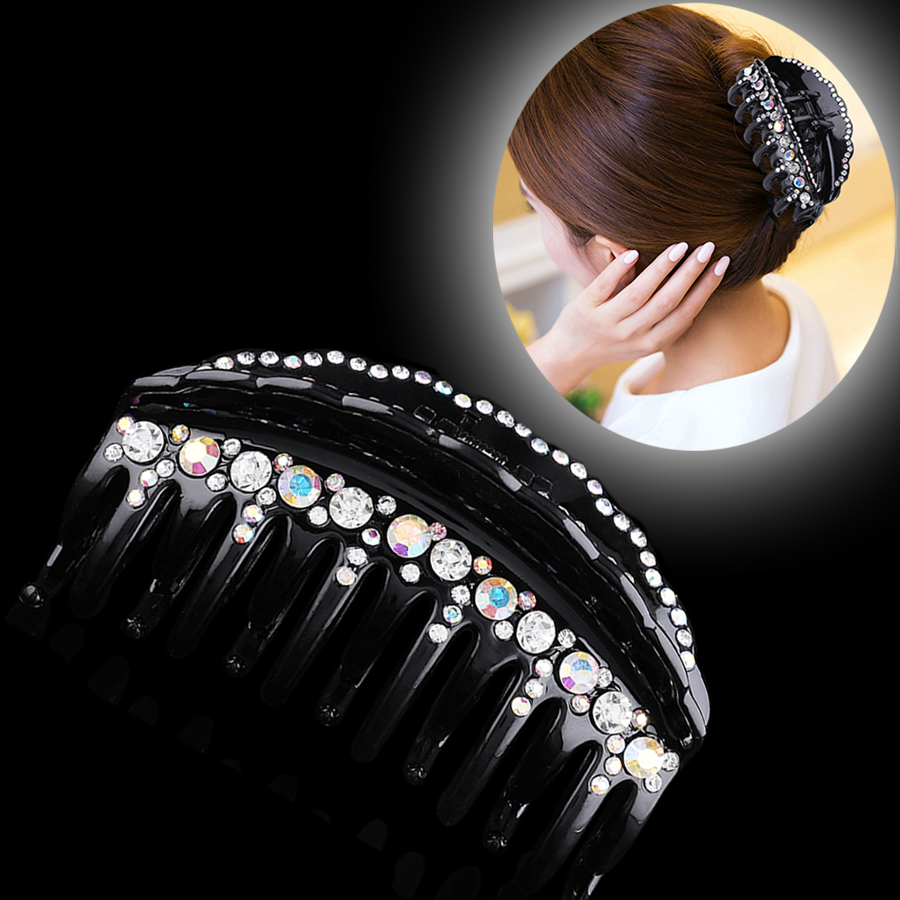 Haimeikang Simple Rhinestone Hairpins Hair Clip Shiny Hair Claws For Women Girl Crab Clips Hair Horsetail Hair Accessories
