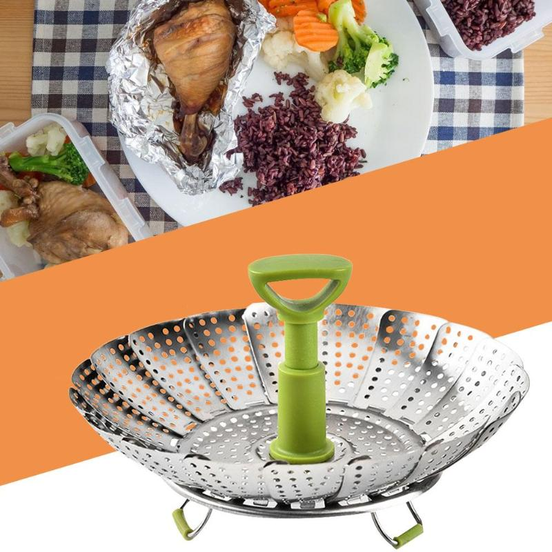 Stainless Steel Folding Steamer Food Fruit Vegetable Basket Kitchen Cooking Tool Compact Folding To Save Storage Space