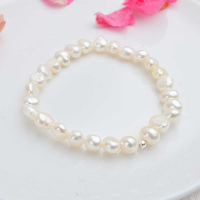 ASHIQI Real Natural Freshwater Baroque Pearl Bracelets & Bangles Women 925 Sterling Silver Beads Jewelry Gift