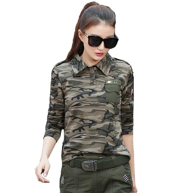 2017 Cotton Long Sleeve Turn Down Collar Hiking T-shirt Tactical Military T Shirt Women Outdoor Sport Camping Combat Polo Shirt