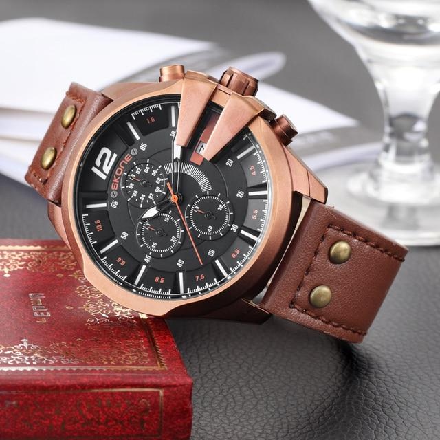 SKONEนาฬิกาผู้ชายหนังกันน้ำอัตโนมัติวันที่นาฬิกาข้อมือควอตซ์กีฬานาฬิกาชายChronographนาฬิกาRelogio Masculino