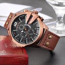 Skone Horloges Mannen Militaire Waterdichte Lederen Auto Datum Quartz Horloge Sport Klok Mannelijke Chronograaf Relogio Masculino