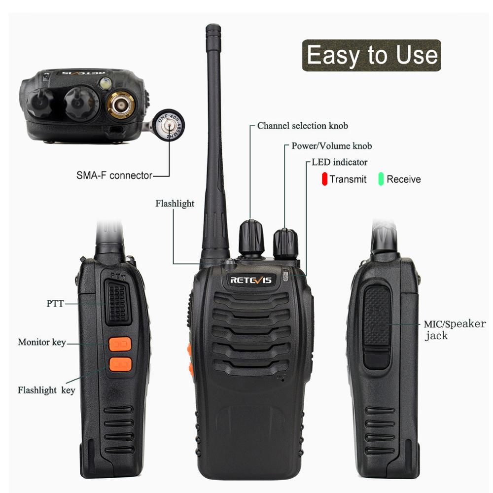 2 pcs Retevis H777 Cheap Walkie Talkie Radio 3W UHF Handheld Transceiver Two-way Radio USB Charging Walkie-Talkie Communicator