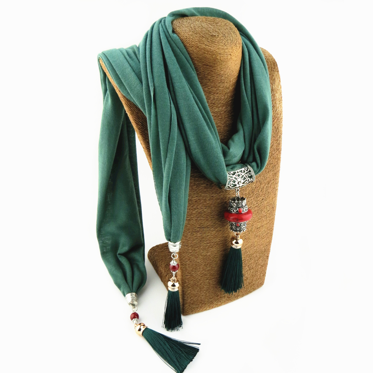 Pure Color Multi-color Fashion Tassel Design Scarf Jewelry Necklace Pendant Women's Scarf Free Shipping