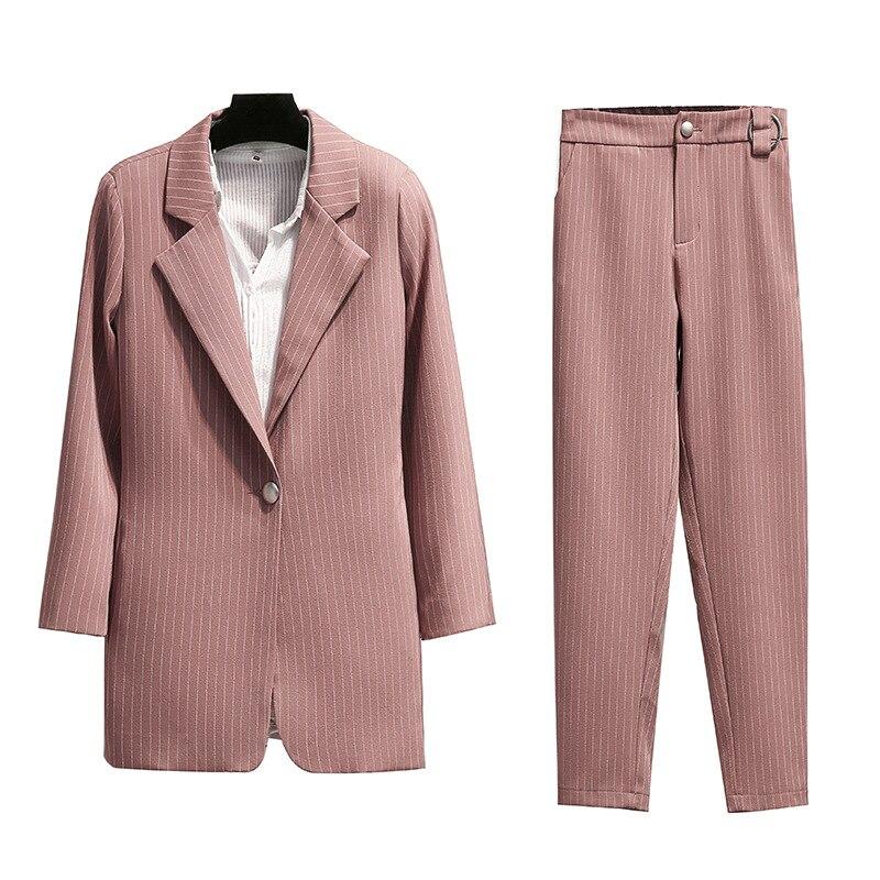 Blazer and pants set for women suits office sets Casual striped blazer Nine pants suit 2019 autumn new women's clothing