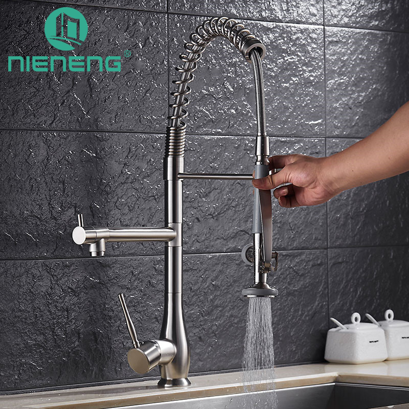Nieneng Hot And Cold Pull Faucets Kitchen Faucet Brushed Dish Sprayer Nozzles Basin Fixtures Taps Torneiras