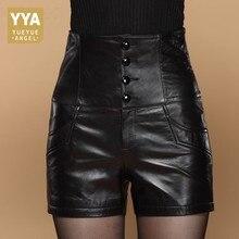 Pantalones cortos de cuero de cintura alta para mujer, Shorts de cuero de alta calidad, ajustados, con lazo cruzado, elegantes, de talla grande 5XL