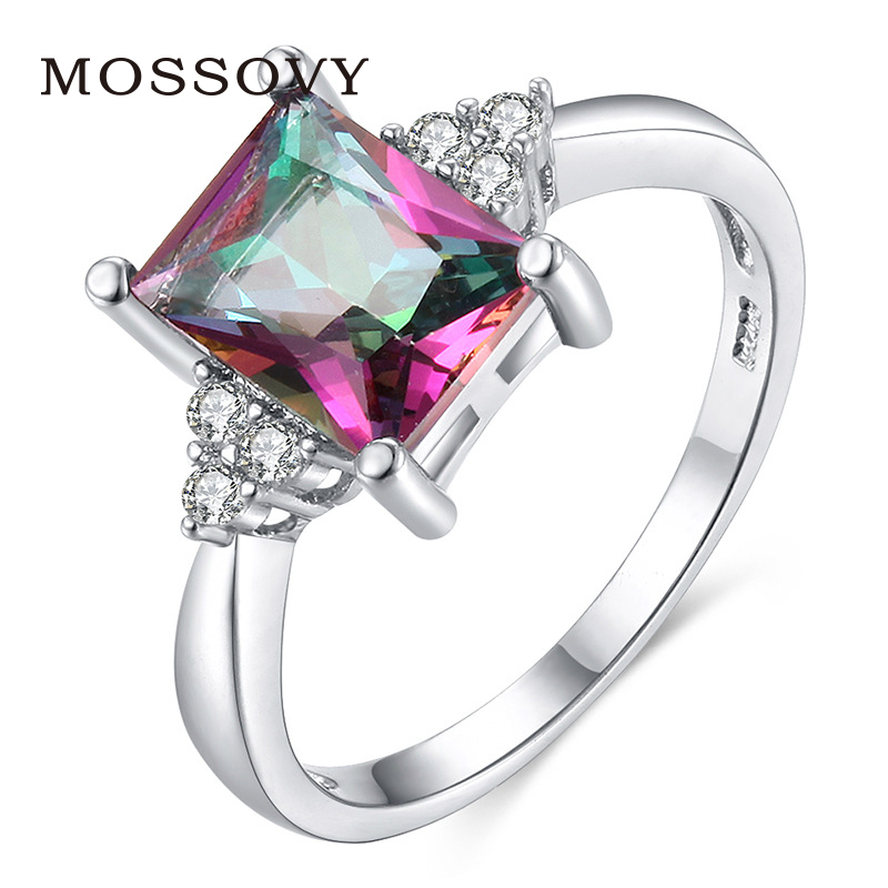 Mossovy Delicate Colourful Cubic Zirconia Ring Engagement Ring Wedding  Rings for Women Fashion Jewelry Womens Accessories 5a366abe2ef5