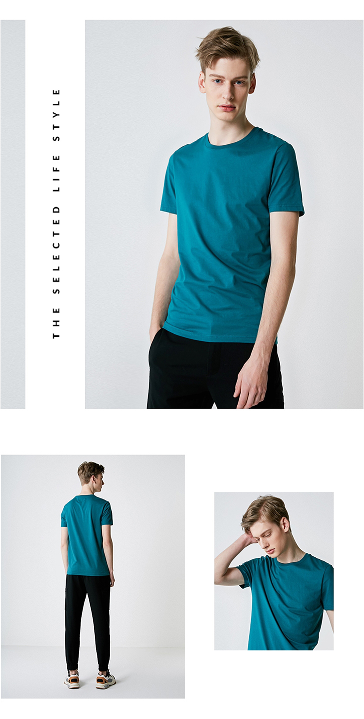 Men's Summer 100% Cotton Pure Color Round Neckline Short-sleeved T-shirt 40
